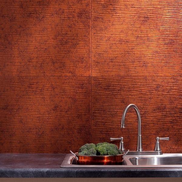 Fasade Ripple Moonstone Copper 18 x 24-inch Backsplash Panel ...