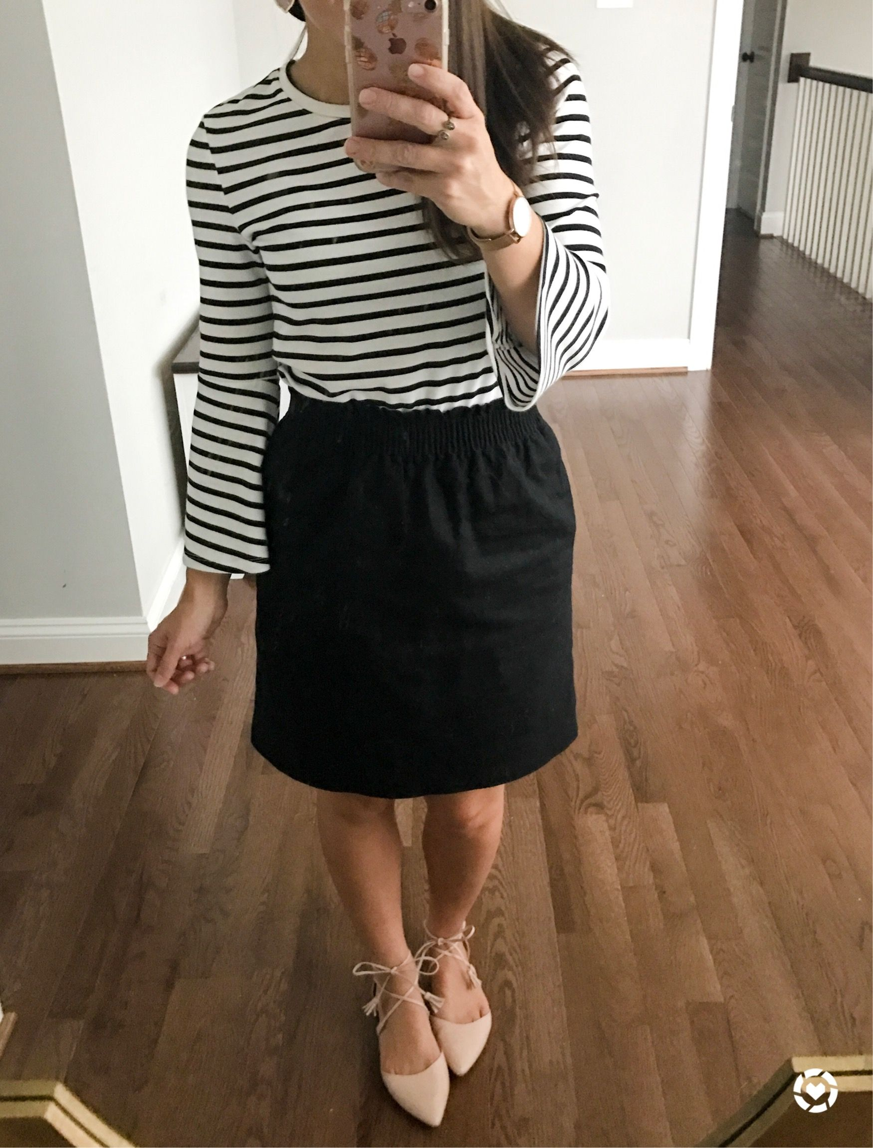 a70b1e6f31 J. crew sidewalk skirt and old navy bell sleeve top, with blush ballet  flats. Fall 2017 outfit. Petite outfit. #fallfashion #petitefashion #fashion  # ...