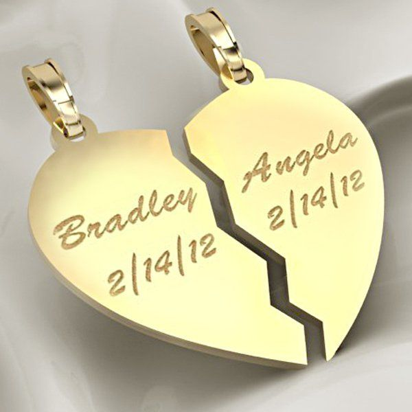 Personalized split or broken heart pendants or charms aloadofball Choice Image
