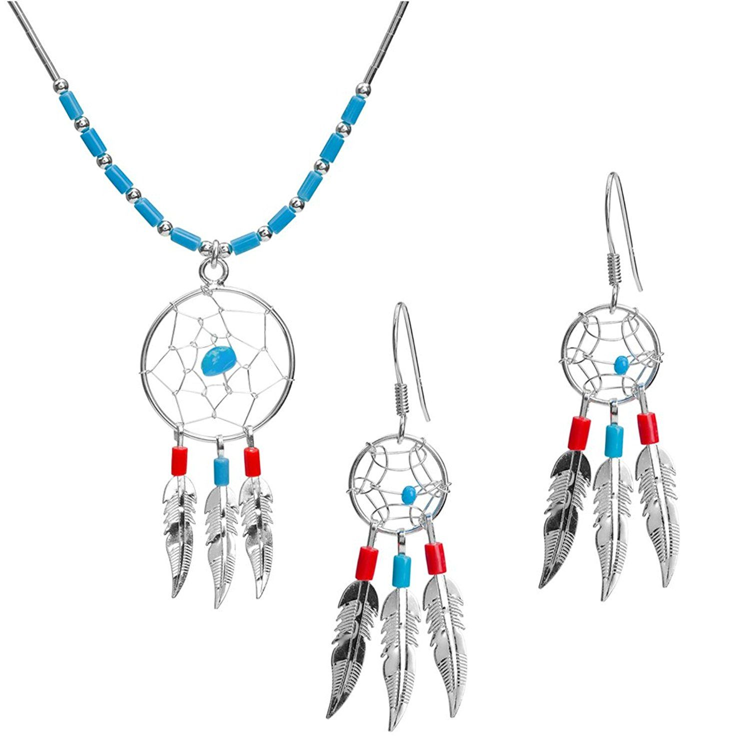 Turquoise sterling silver dreamcatcher set earrings pendant necklace