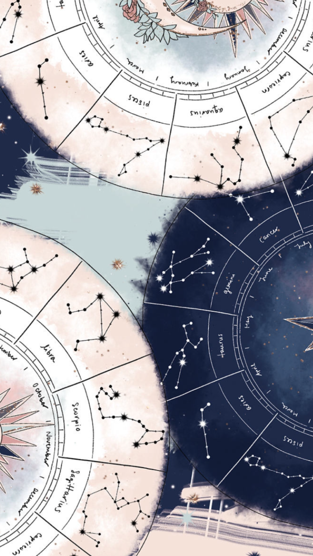 Dark Blue And Pastel Pink Astrology Chart Wallpaper Pastel Wallpaper Aesthetic Wallpapers Art Wallpaper