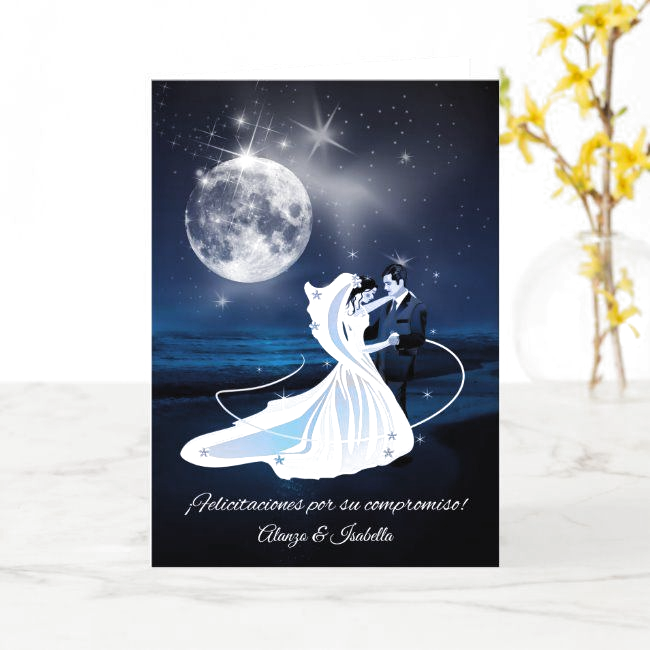 Spanish Engagement Congratulations Moonlit Couple Card , #Ad, #Moonlit#Couple#Card#Congratulations #Ad