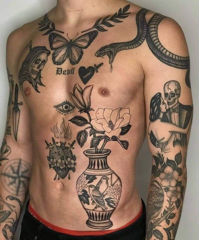 What would you call this (these? Are there multiple?) style(s) of tattoo? Apart from the actual tattoos themselves, would this 'layout' be considered patchwork?