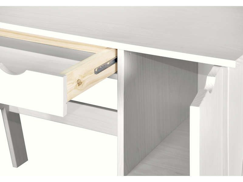 Bureau 1 Porte 1 Tiroir Dolly Coloris Blanc Tiroir Bureau Et Bureau En Pin