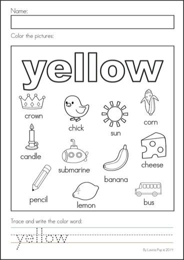 Yellow | Literacy worksheets, Kindergarten colors ...