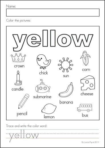 Yellow Preschool Worksheets School Worksheets Kindergarten Coloring Pages