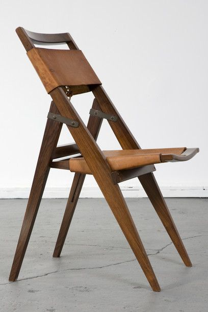 Exceptional Folding Chair With Jacaranda Frame And Leather Seat. Designed By Lina Bo  Bardi, Brazil