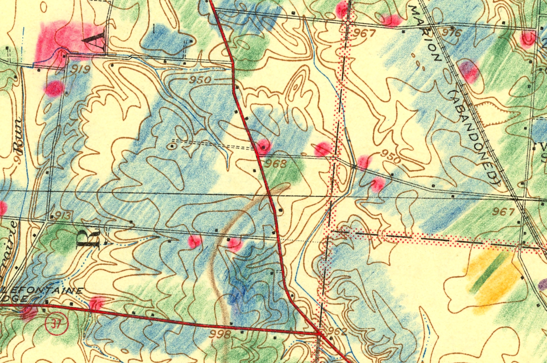 Hand Sketched Glacial Geomorphology Annotations On Topographic Maps