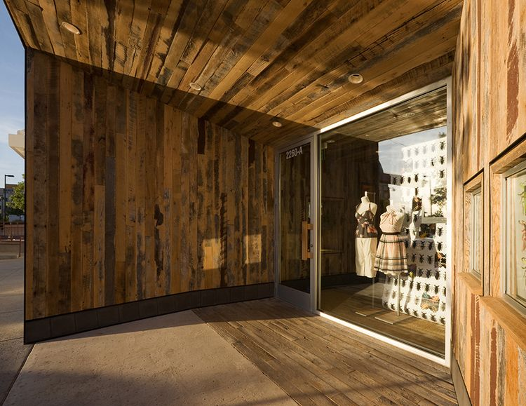 Reclaimed Wood Portal At Entry And Storefront Display Architect