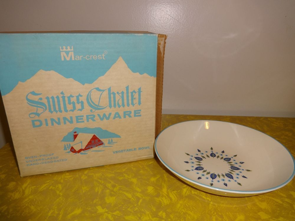"NIB Vintage Marcrest Alpine Swiss Chalet Large Serving Vegetable bowl 9"" #Marcrest"