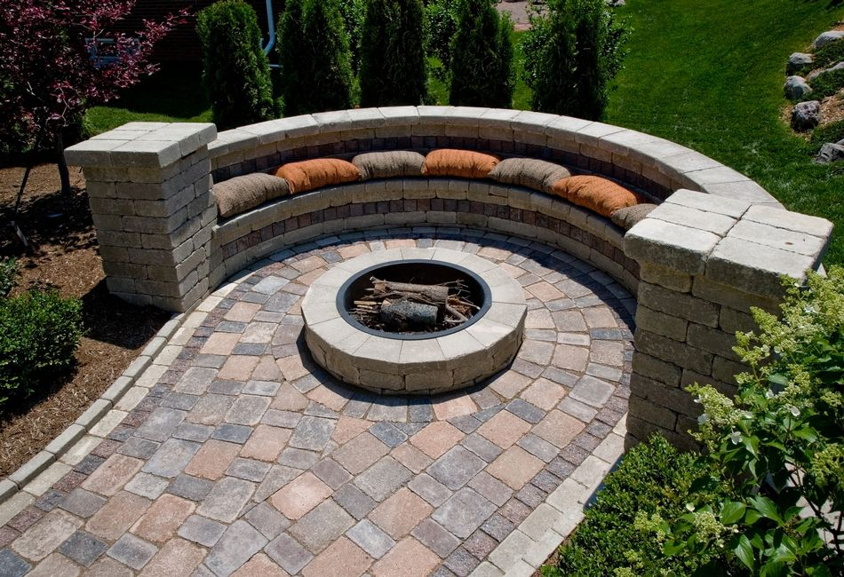 Fire Pit And Seating Part - 46: Brussels Block Patio With Brussels Dimensional Fire Pit And Seat Walls