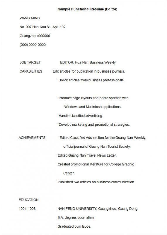 Functional Resume Template template Pinterest Functional