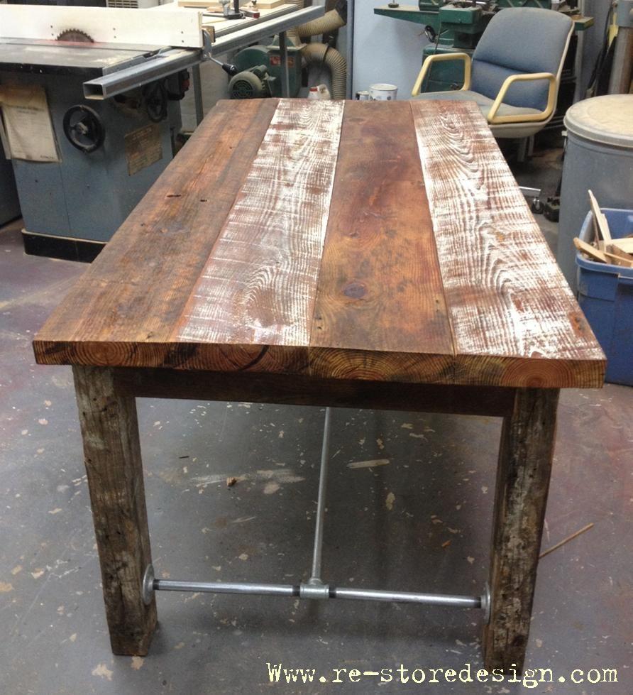 Reclaimed wood farm table pipes and legs for Farm table legs diy