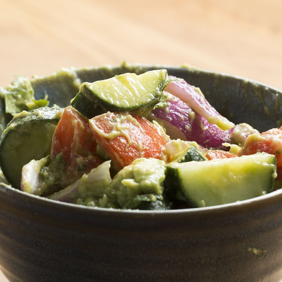 Make This Healthy Cucumber Avocado Salad Using Our NEW