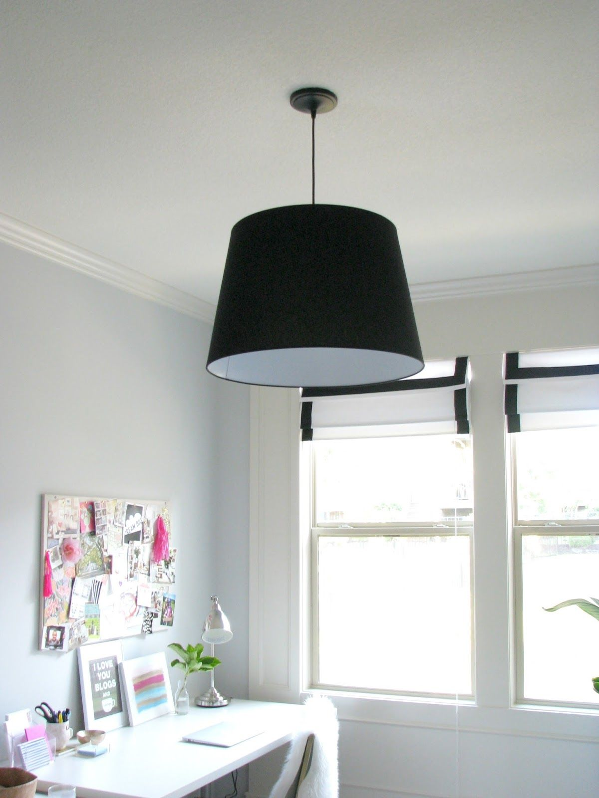 Black JARA Shade from Ikea pendant light kit from Lowes