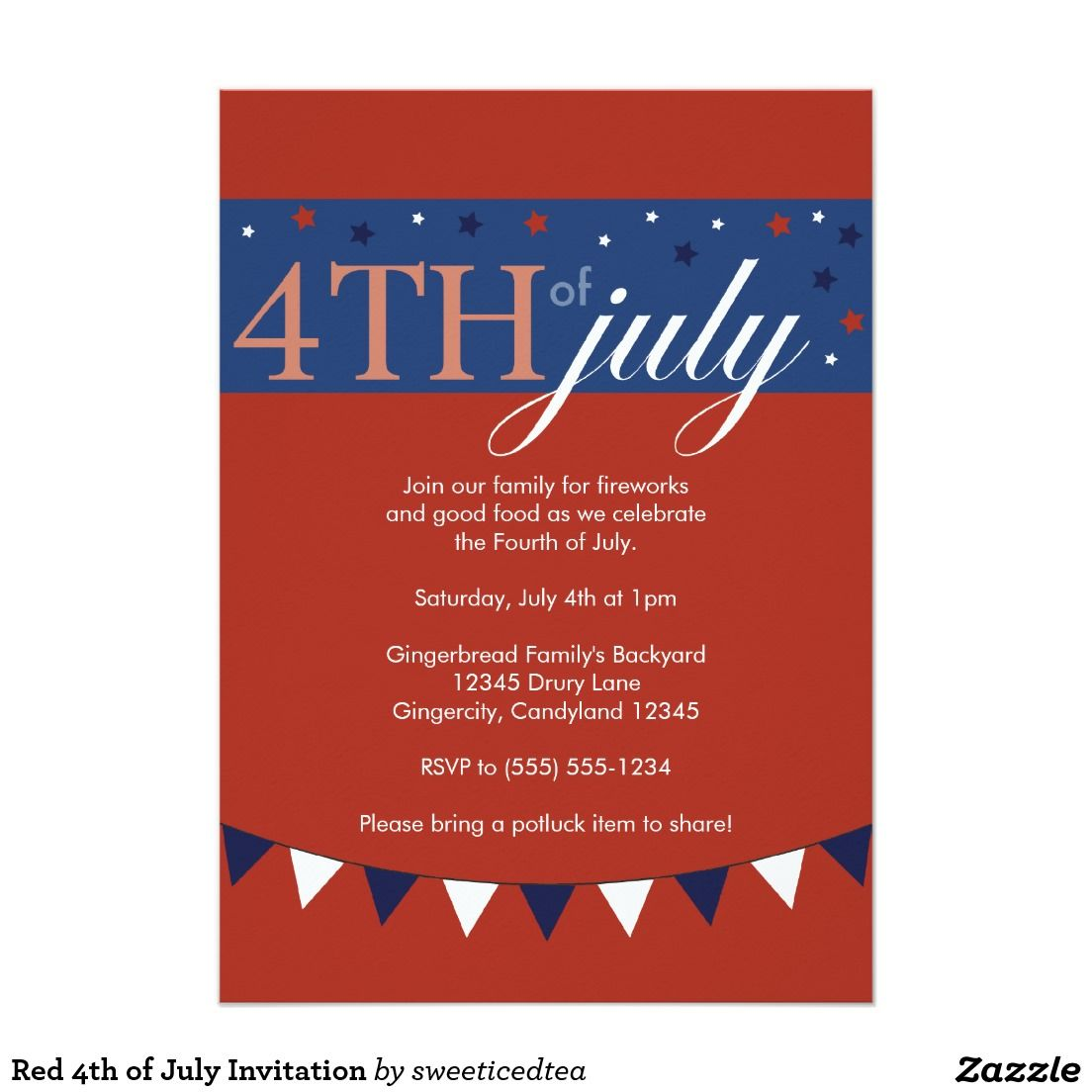 Red 4th of July Invitation   Invitations   Pinterest