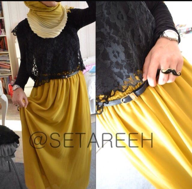 Yellow and black lace. Hijab fashion