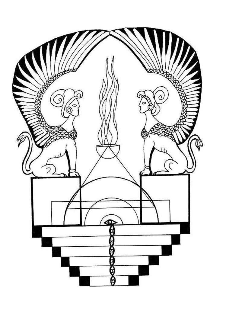 mandala com uma esfinge egípcia egipto egypt pinterest egípcio