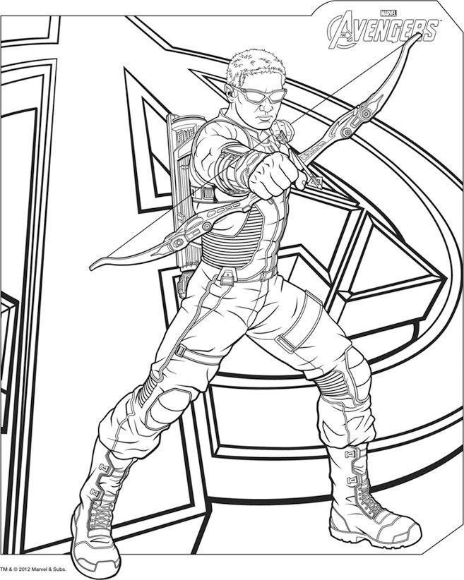 Coloriage oeill de faucon avengers superhero coloring sheets - Dessin anime avengers ...