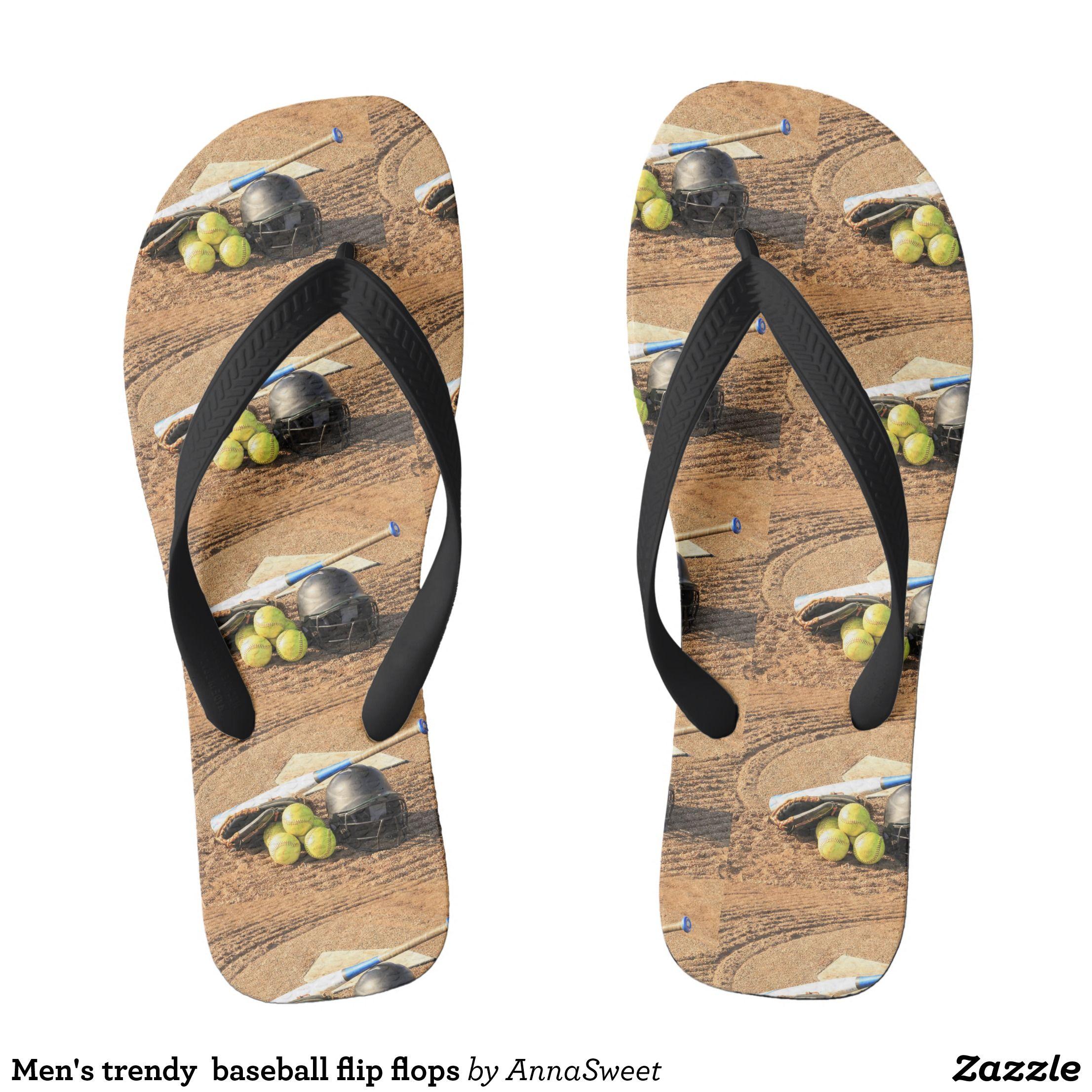 Men S Trendy Baseball Flip Flops Durable Style Hawaiian Beach Sandals By Talented Fashion Graphic Designers Flipflops Hawaii
