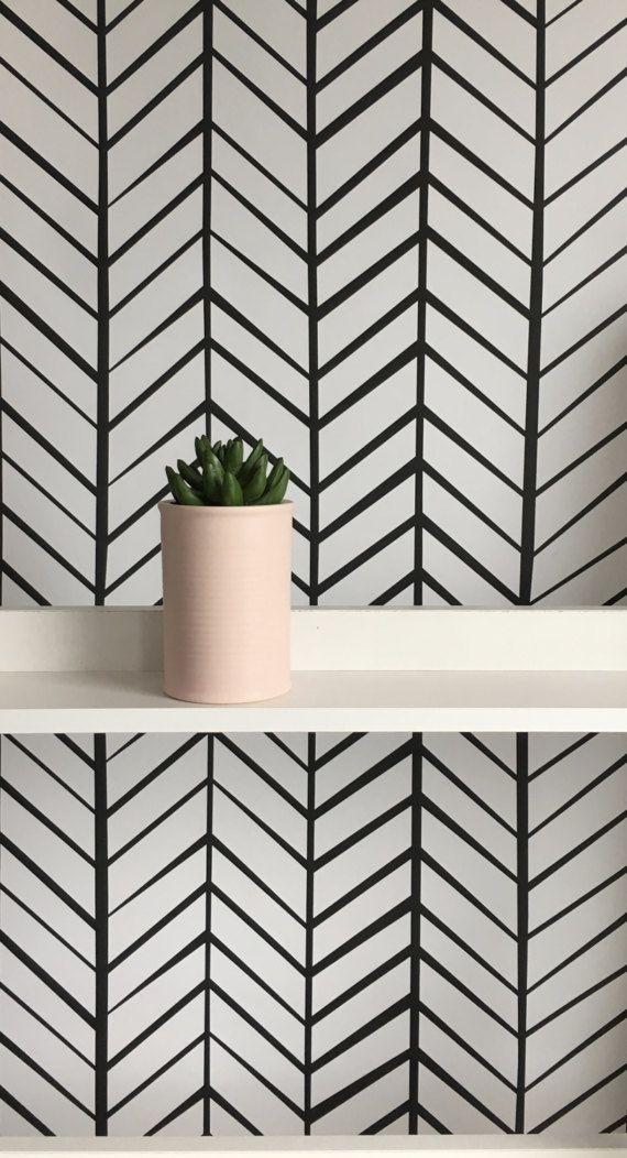 Pattern Name Zig Zag Stripe Black Pattern Repeat 533mm Wide X 1492mm High Bespoke Self Adhesive R Herringbone Wallpaper Removable Wallpaper Grey Wallpaper