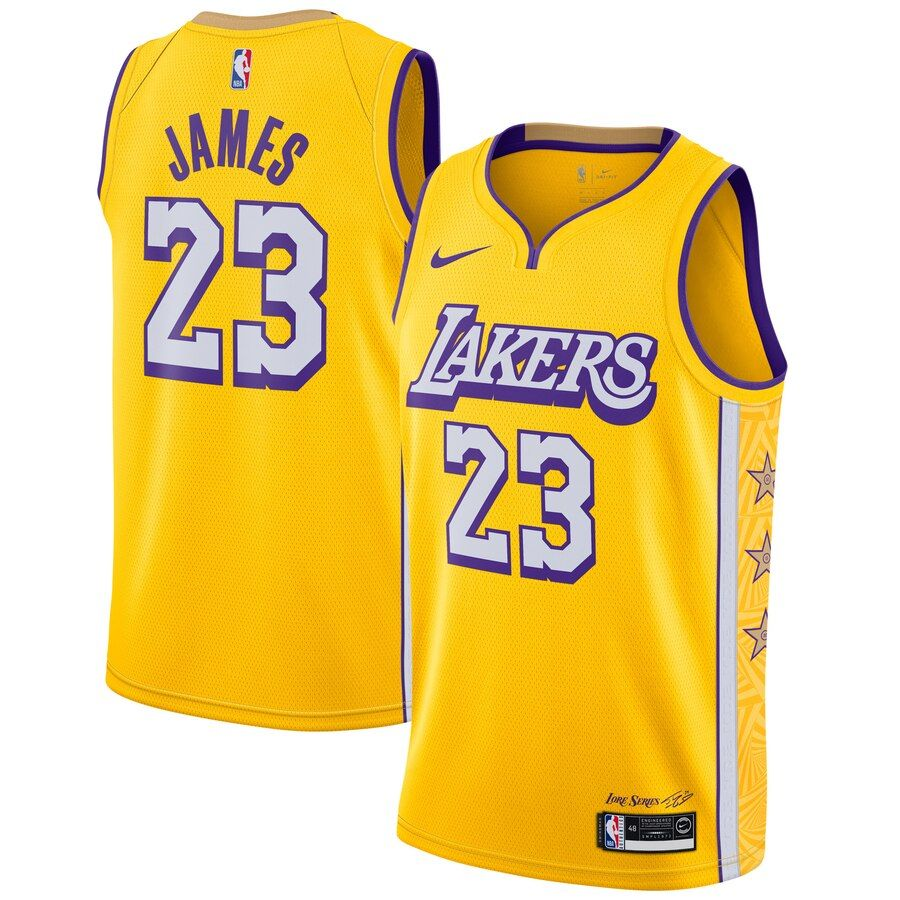 Men S Lebron James Yellow Los Angeles Lakers 2019 20 Finished Swingman Jersey City Edition Lebron James Los Angeles Lakers Nba Jersey