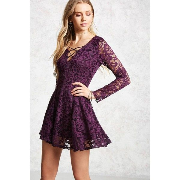d03726a215d9 Forever21 Chantilly Lace Swing Dress ( 8) ❤ liked on Polyvore featuring  dresses