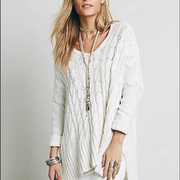 Free people cable v neck White cable knit sweater, heavy, doll man ...