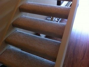 Yes, someone actually carpeted these floating stairs... HAHA