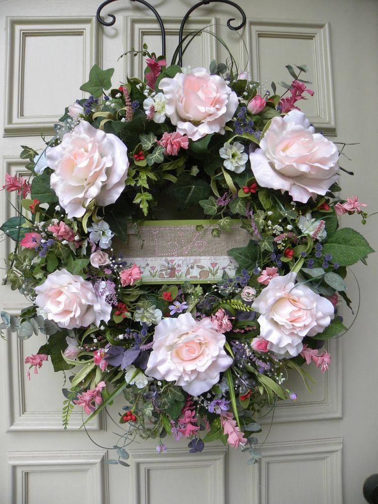Mother S Day Grapevine Floral Pink Rose Door Wreath