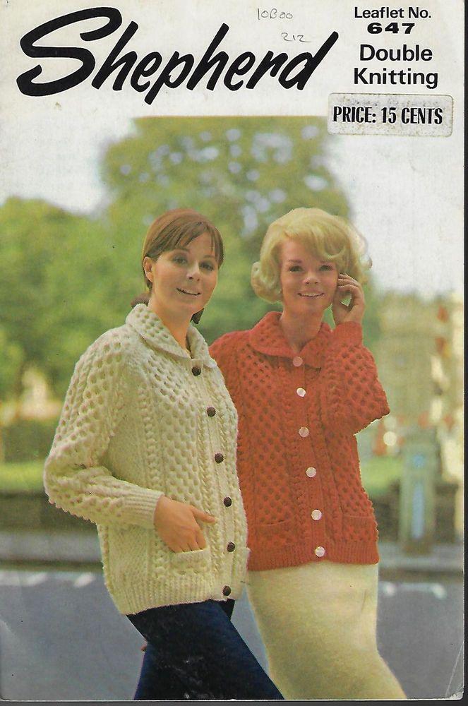 Women Cable Aran Honeycomb Cardigan Shepherd 647 vintage knitting ...