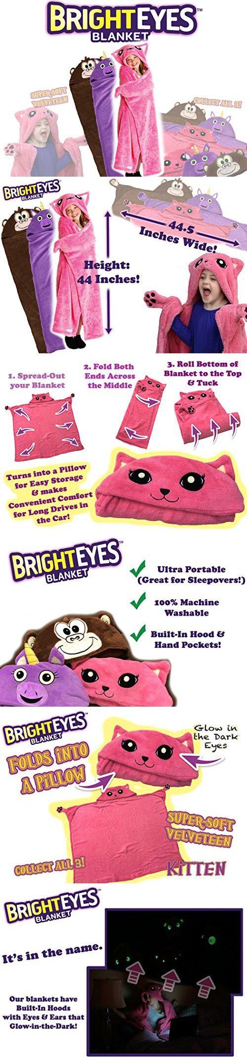 Bright Eyes Blanket Super Soft Snuggie For Kids Hooded Blanket Robe Comfy Throw Blanket Pink Kitten Warm Fuzzy In 2020 Eye Blanket Fuzzy Blanket Bright Eyes