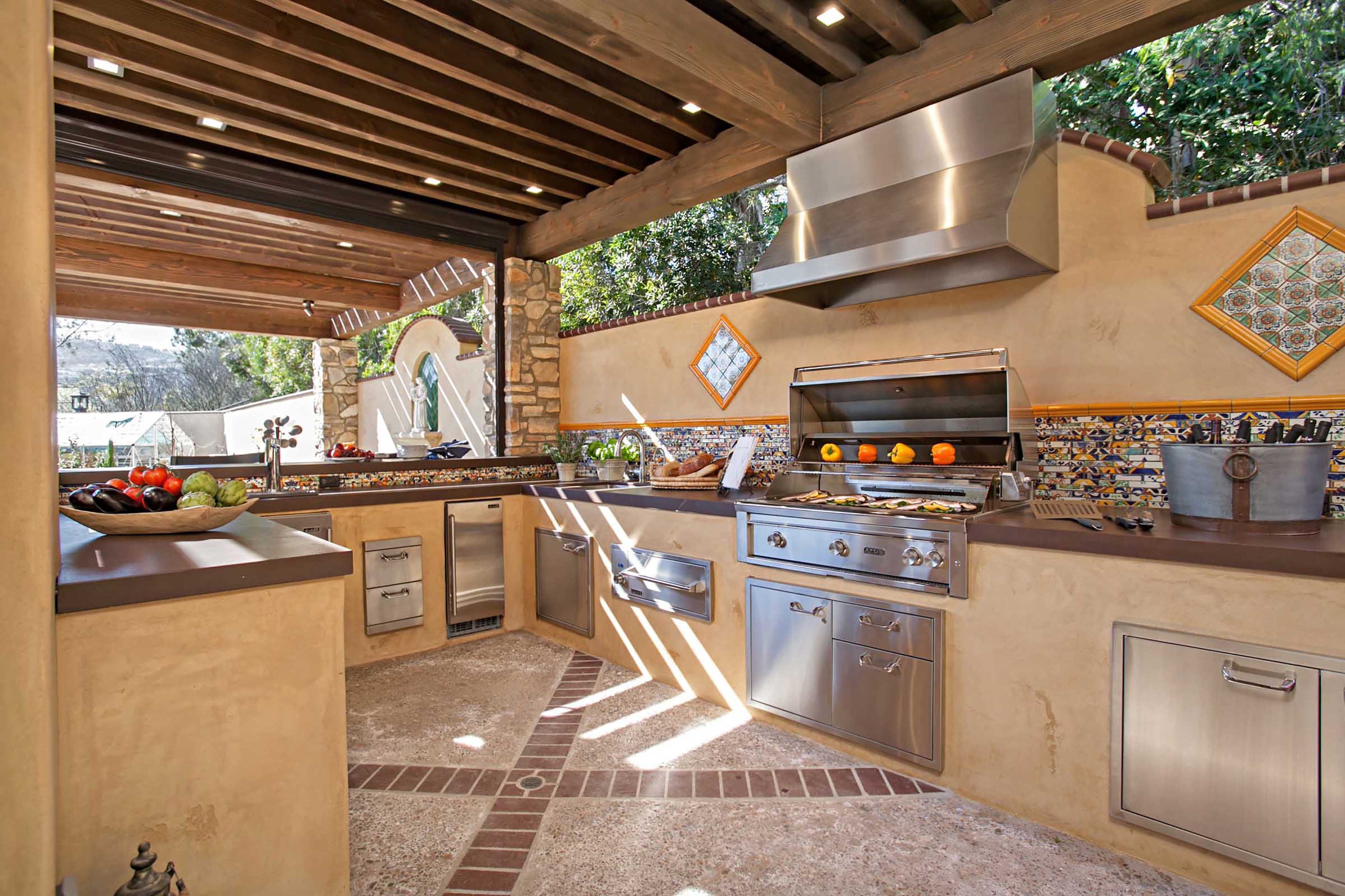 mediterranean outdoor kitchen with stainless grill cocinas palapas asador on outdoor kitchen id=33219