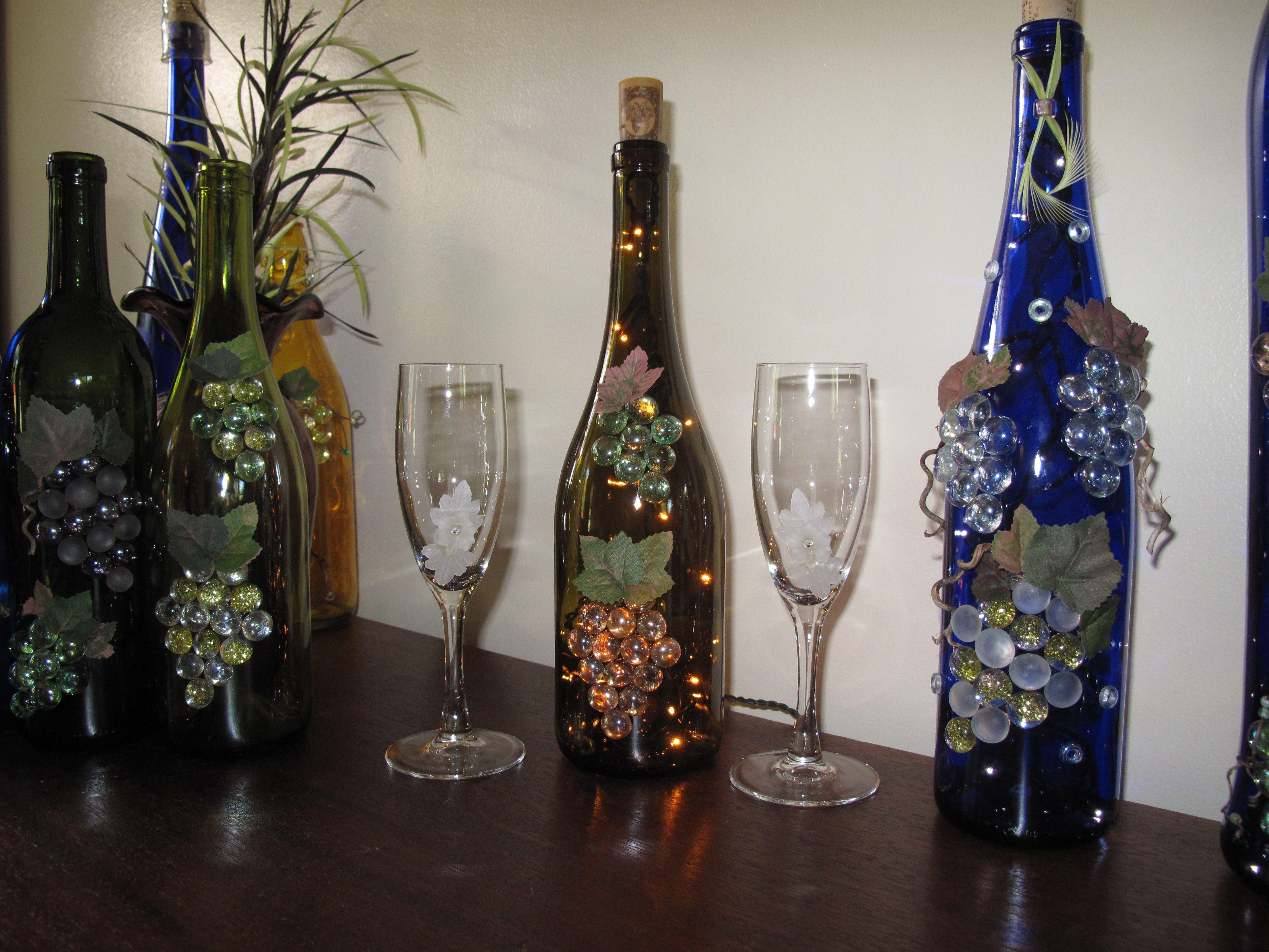 Lighted wine bottles wine bottles diaper cakes for Lighted wine bottle craft
