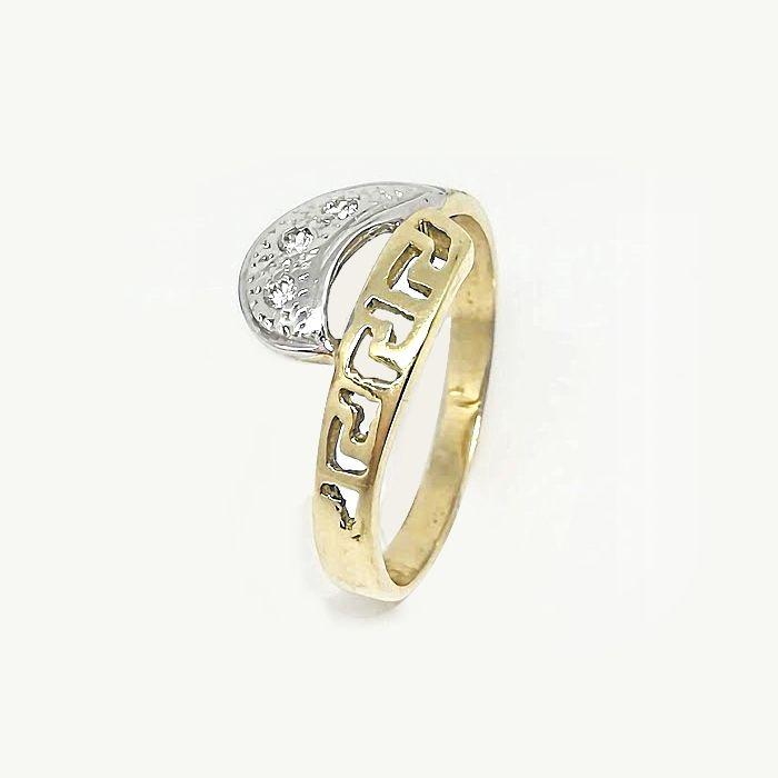 Χρυσό δαχτυλίδι Κ14 με αρχαιοελληνικά σχέδια και λευκόχρυσες λεπτομέρειες  με λευκά ζιργκόν Swarovski ®. 8a6720c9d0c
