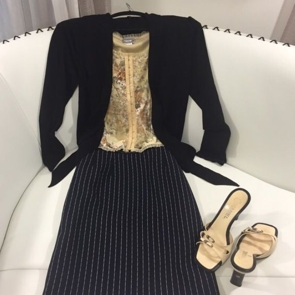 3 PIECE w/ Givenchy Skirt! SZ 8. Couture 3 PIECE COUTURE GORGEOUS OUTFIT SZ 8. GIVENCHY SKIRT SZ 10 (fits like Size 8) Classic Black/White pin stripped. Measures (flat) W 16, H 21, L 22. WHITE House/BLACK Market SOFT SWEATER  SZ M. Measures (flat) B 17, L 25. RAVE CAMI SZ M. LOVELY Beige/multi color. Measures (flat): B 13, L 18. This FABULOUS COUTURE outfit can take you from fall thru winter. Givenchy Skirts