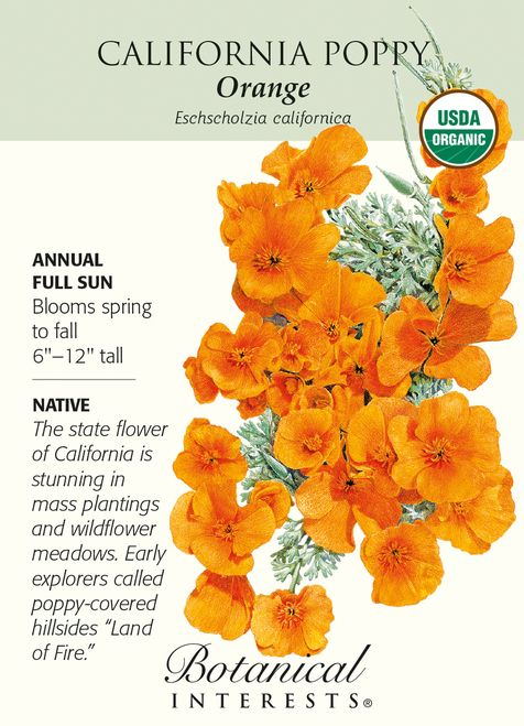 Annual. Imagine what a sight it was for early explorers and settlers when they first laid eyes on the California hillsides massed with golden-orange flowers fluttering in the breeze. Drought tolerant,