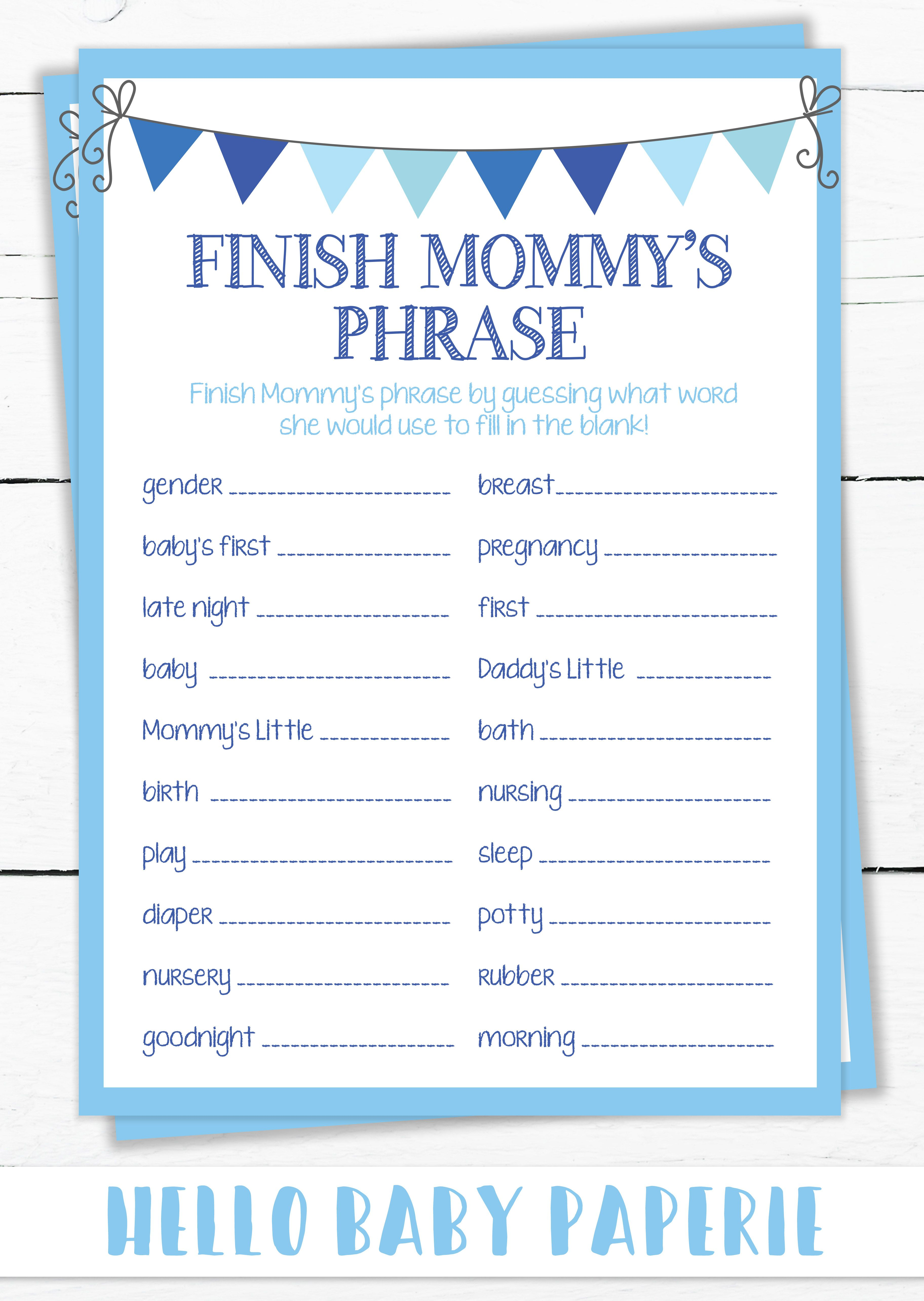 Finish Mommy S Phrase Baby Shower Icebreaker Game Baby Shower
