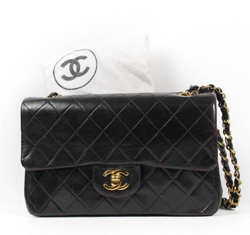 Vtg Chanel Quilted Double Flap Bag Dyed Black By Art Bag In Nyc Bags Chanel Quilted Flap