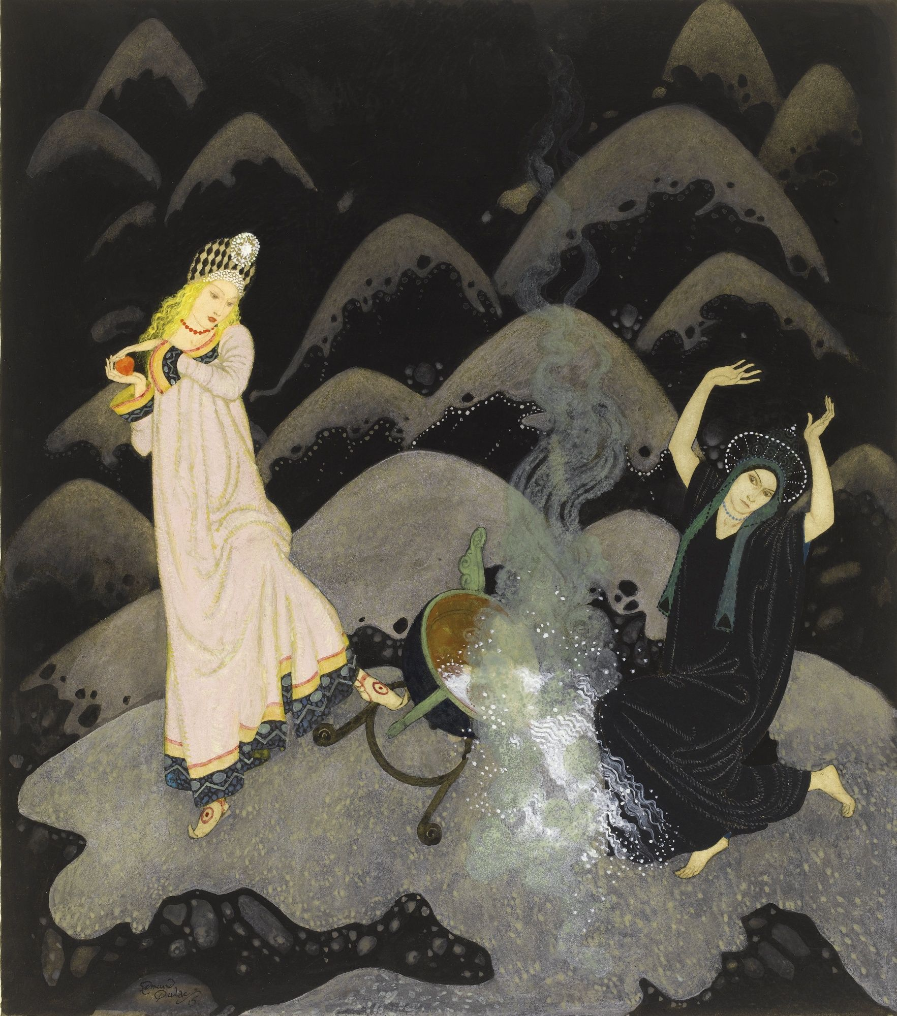 """""""WITH A SCREAM THE PRINCESS RUSHED FORWARD, AND, BEFORE HER WICKED SISTER COULD PREVENT HER, SHE HAD UPSET THE CAULDRON WITH A CRASH."""" - Edmund Dulac."""