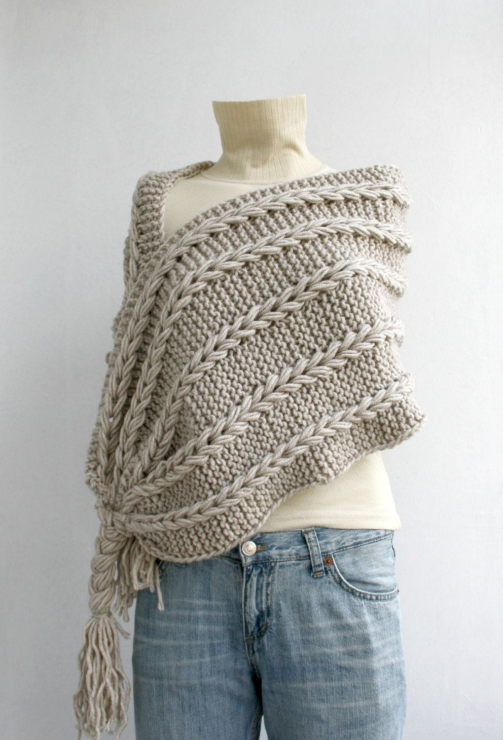 Hand Knitted Beige Rectangle Shawl / Over Size Long Cable Scarf ...