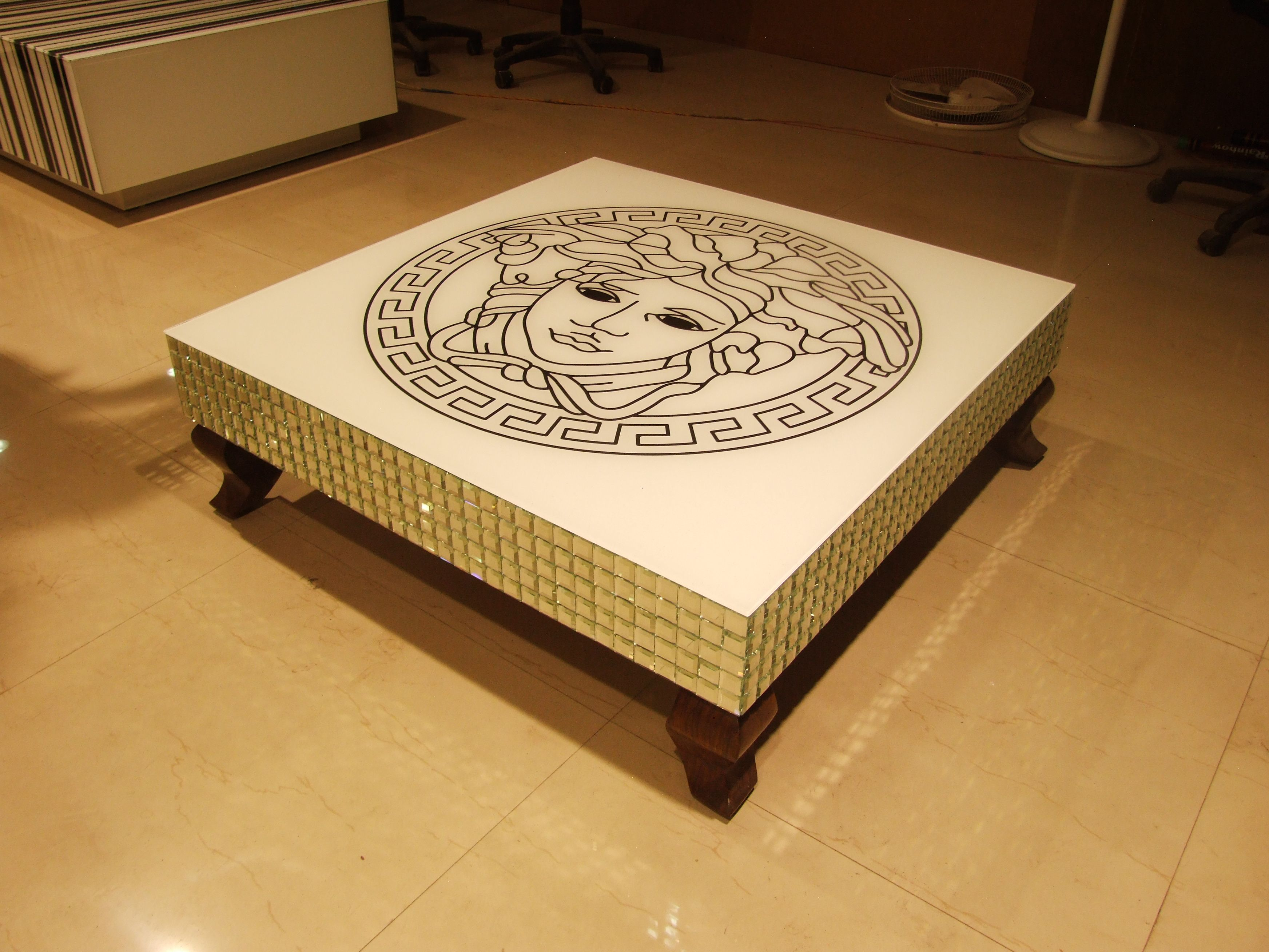 Designer Glass Coffee Table With Teak Wood Legs