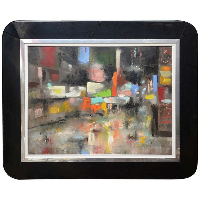 1stdibs.com | Palette Knife Modernist Acrylic on Canvas Painting