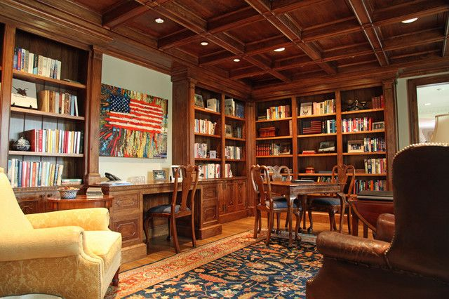 Innovative Custom Home Library Design For Cool Space Maximization:  Traditional Home Office Design In Custom Home Library Design Applied Wooden  Tiered ...
