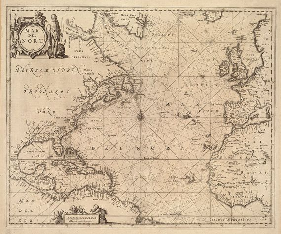 Vintage 1650 Nautical Chart Of The Atlantic Ocean