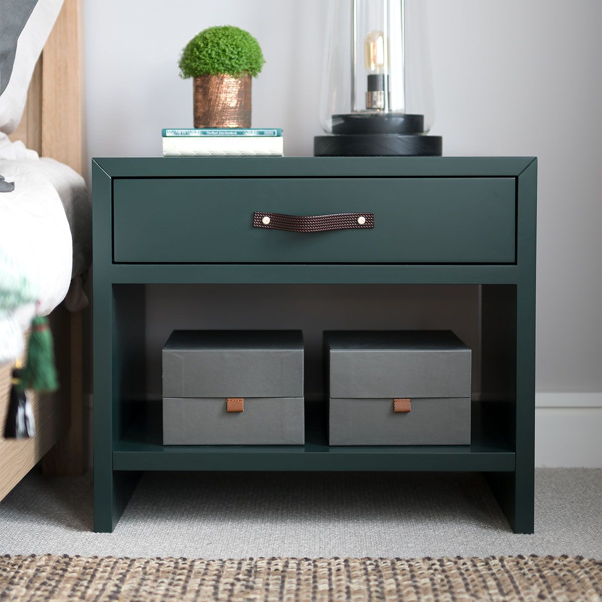 Wide Drawer Bedside Table Th2studio The Latest Addition To Our Bedside Collection The Wide Green Bedside Table Leather Bedside Table Bedroom Bedside Table