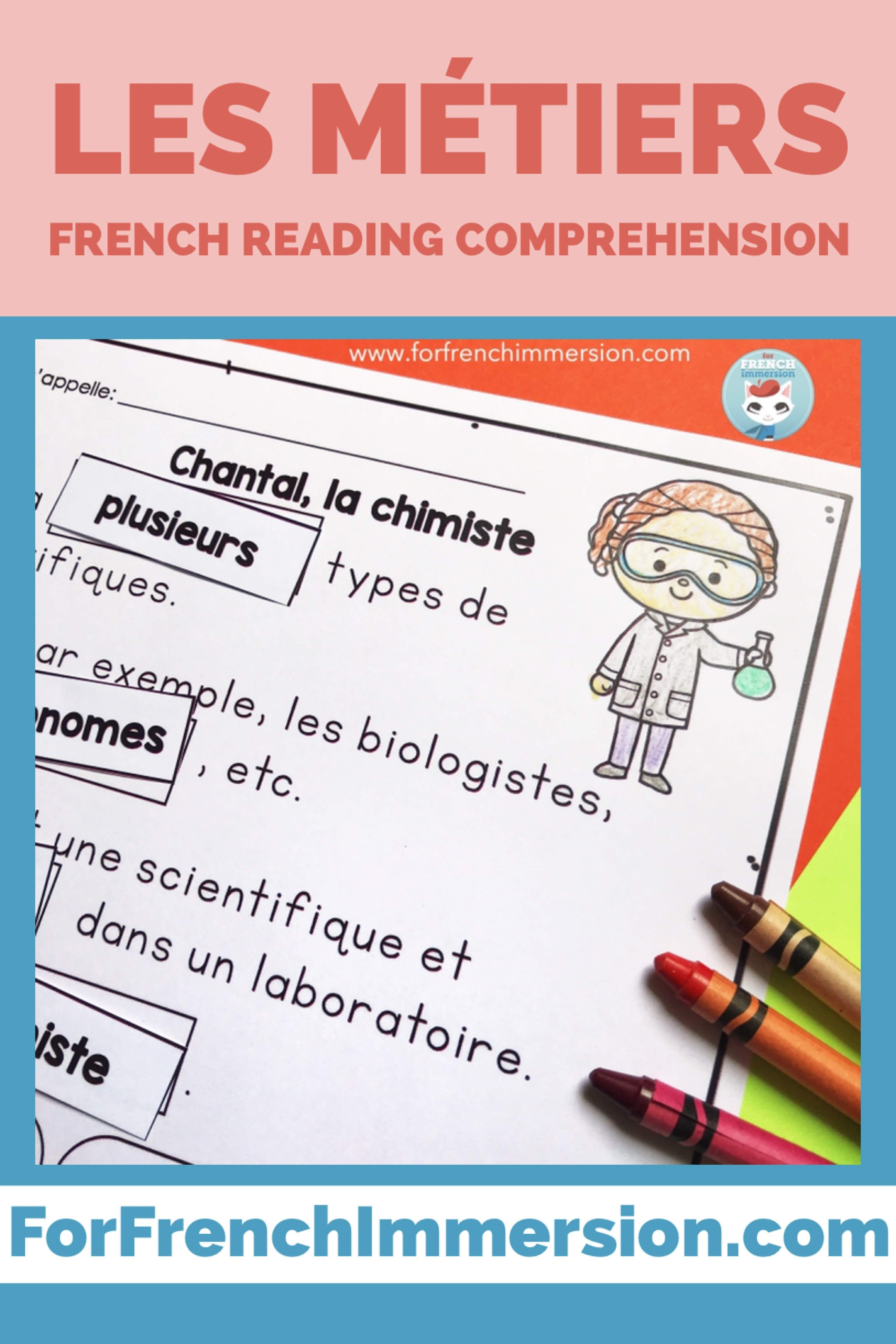 French Professions Reading Comprehension Les Metiers In