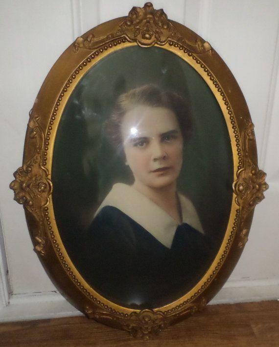 Antique Oval Portrait Frame Bubble Convex Glass Picture