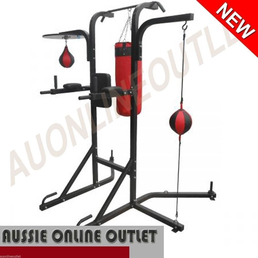 c718fa55995 Punching Bag Stand Boxing Speed Ball Chin Up Tower Knee Raise Multi Station  Gym
