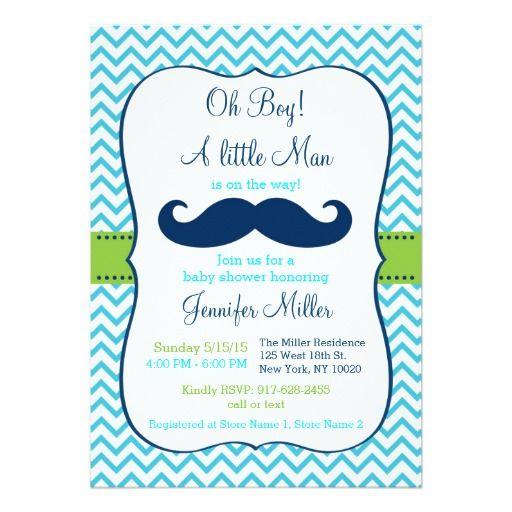 Mustache Little Man Oh Boy Printable Baby Shower Invitation Editable PDF
